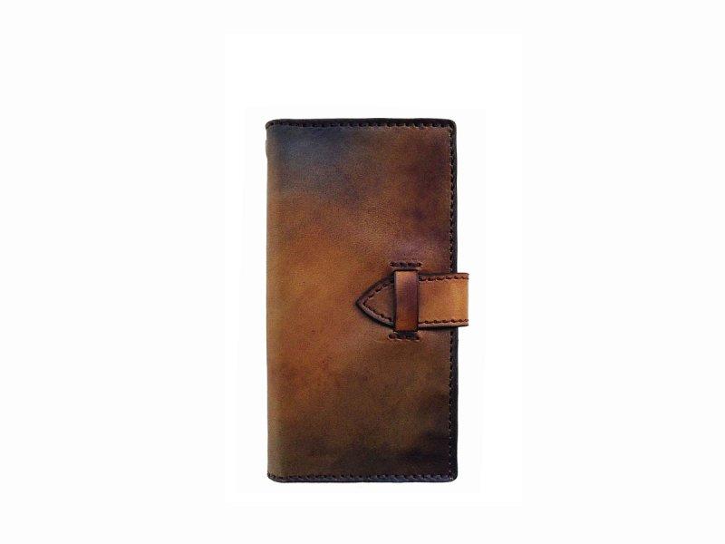 画像1: ブラウンムラ染め カードポケット付 i-PHONE用レザーケース