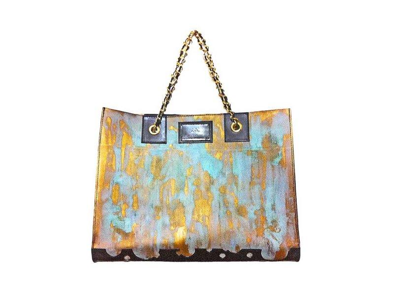 画像1: ラストゴールド 青サビトートバッグ